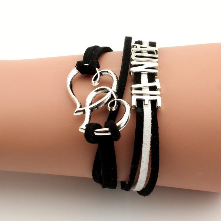 Leather Bracelet Antique Cross Anchor Love Peach Heart Owl Bird Believe Pearl infinity bracelet, Multicolor woven leather bracelet & Bangle