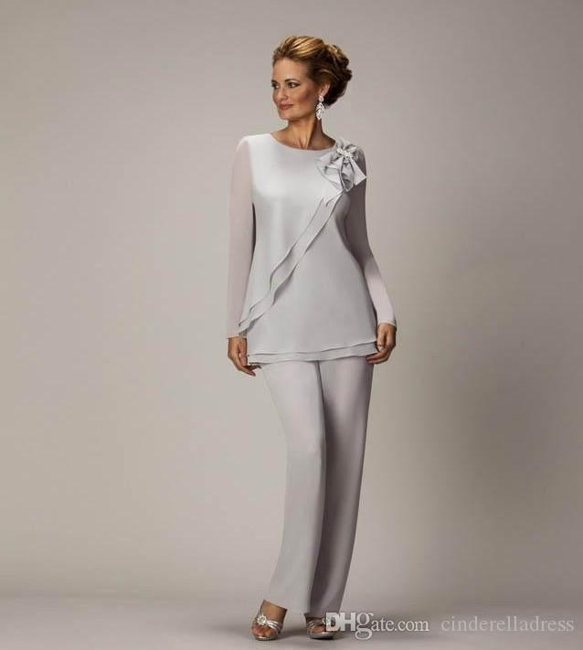 2018 Elegant Plus Size Silver Mother's Pants Suit For Mother of The Bride Groom Beaded Chiffon Wedding Party Evening Gowns Prom Dress