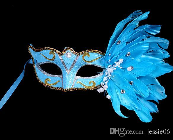 Colored Drawing Feather Gem Pearl Mask Luxury Women Halloween