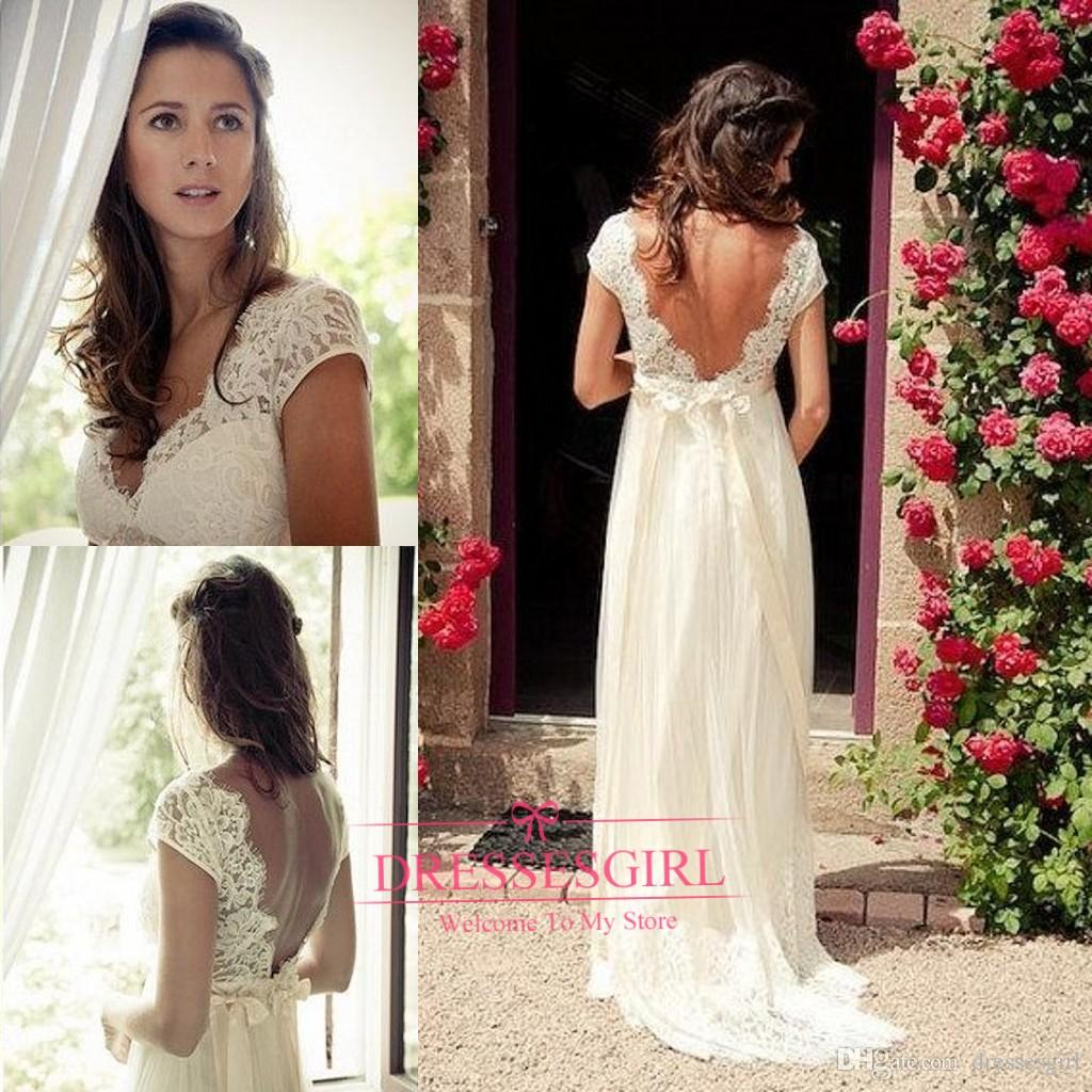 Discount 2017 Sexy Backless Beach Wedding Dresses V Neck Cap Sleeves Beaded Lace Appliques Chiffon Plus Size Vintage A Line Bridal Gowns With Bow Simple