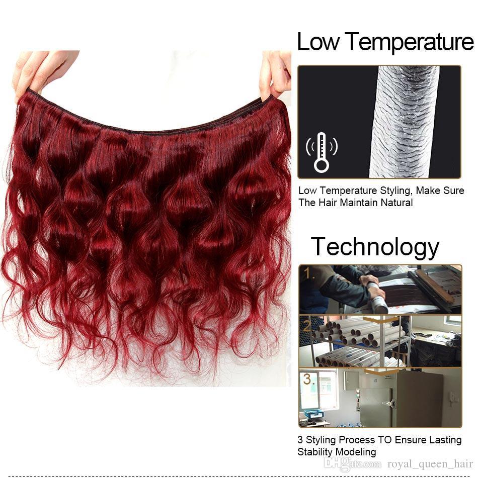 Bourgogne mongol vague de corps Vierge cheveux Weave Bundles 3 / grade 8A vin rouge 99J gros pas cher Remy extensions de cheveux humains Landot cheveux