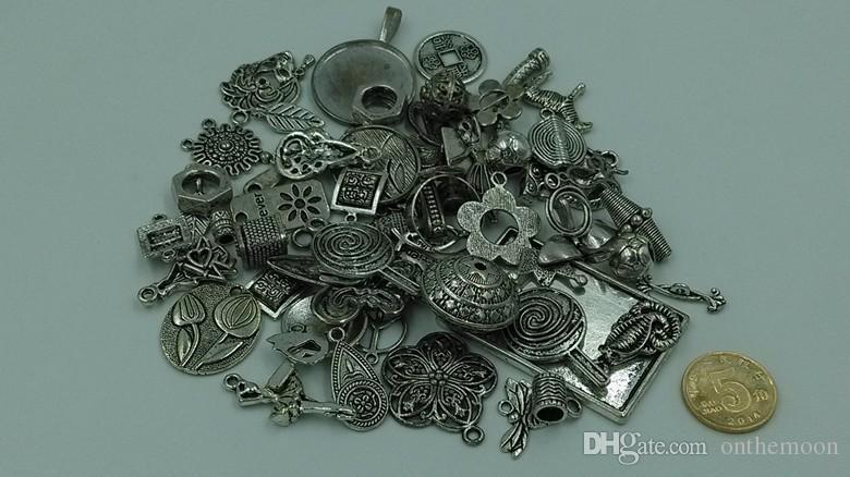 2015, bricolage 50g différents mélangés tibétain argent antique breloques perles pendentifs connecteur Caples Spacer la livraison aléatoire OTS005