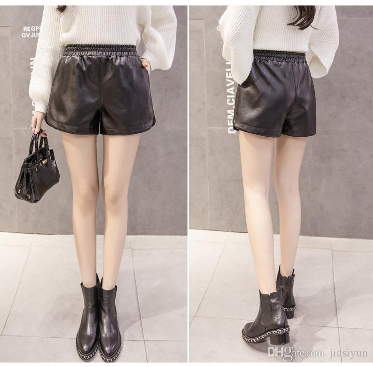 black leather shorts womens
