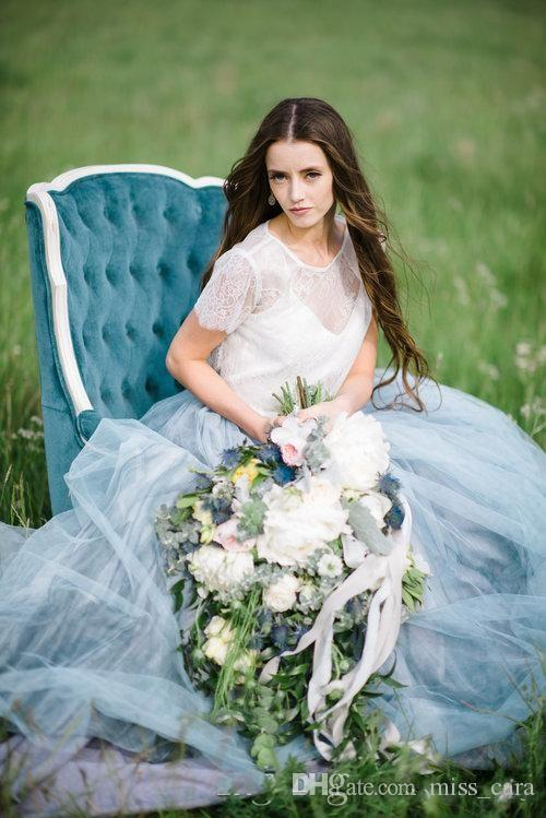 Fairy Beach Boho Lace Wedding Dresses Dusty Blue Skirts High-Neck A Line Soft Tulle Cap Sleeves Backless Plus Size Bohemian Bridal Gown