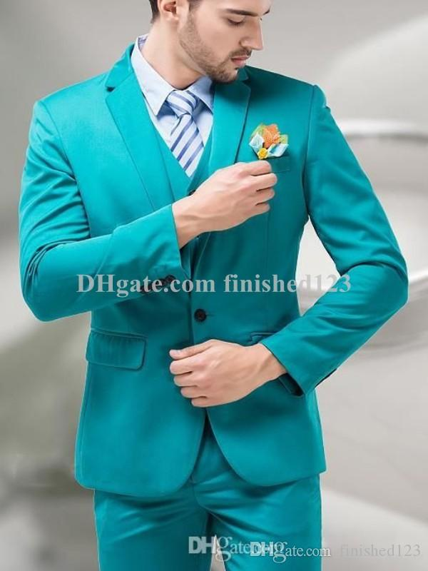 Cheap Popular Design One Button Turquoise Groom Tuxedos Notch ...