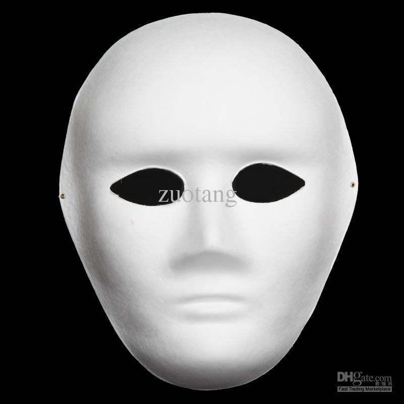 Satın Al Tam Yüz Ince Düz Beyaz Parti Maskeleri çevre Kağıt Hamuru