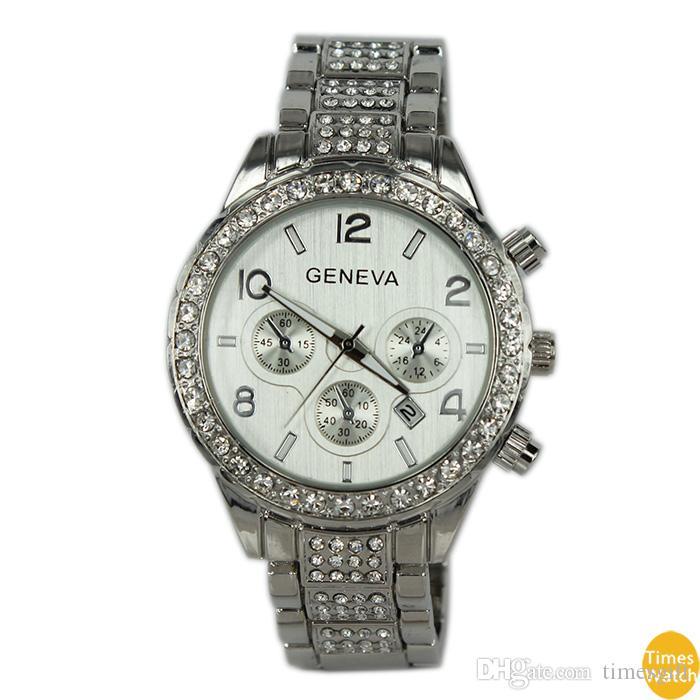 2015 дамы Женева Смотреть полный стали часы женщины платье горный хрусталь аналоговые наручные часы мужчины повседневная часы унисекс кварцевые часы