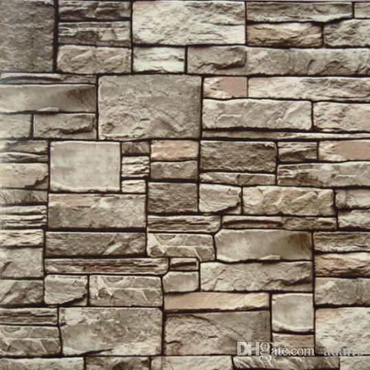 10m Roll Modern Natural Rustic Grey Off White Red Brick Stone Wall Pvc Vinyl Wallpaper Hotel Bar Background Hd Wallpapers High Quality