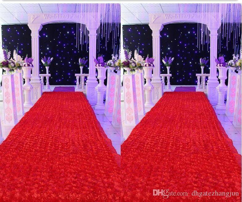 10 متر / وحدة 1.4 متر عرض رومانسية الأبيض 3d روز البتلة السجاد الممر عداء ل خلفية الزفاف المركزية تفضل حزب الديكور الإمدادات