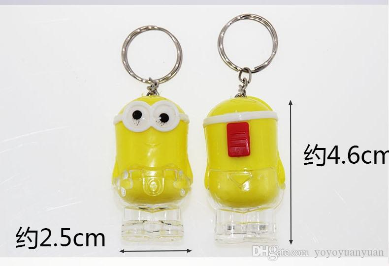 New Arrival Minion LED Light Keychain Key Chain Ring Kevin Bob Flashlight Torch Sound Toy Despicable Me Kids Christmas Promotion Gift