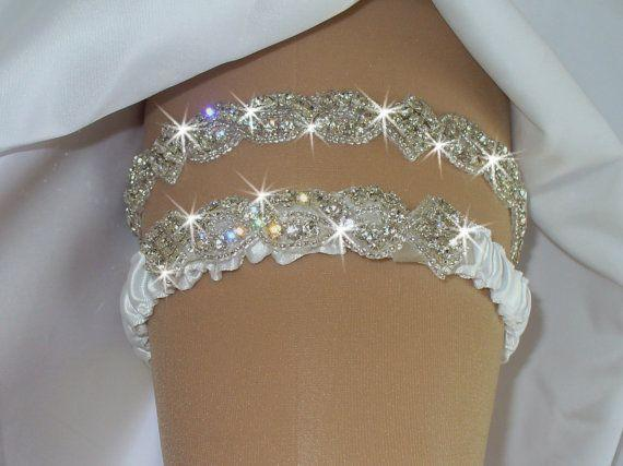 Luxury Crystal White Ivory Bridal Garters Ribbon Edge Bridal Accessories In Stock Cheap Hot Sale Custom Made Fashion