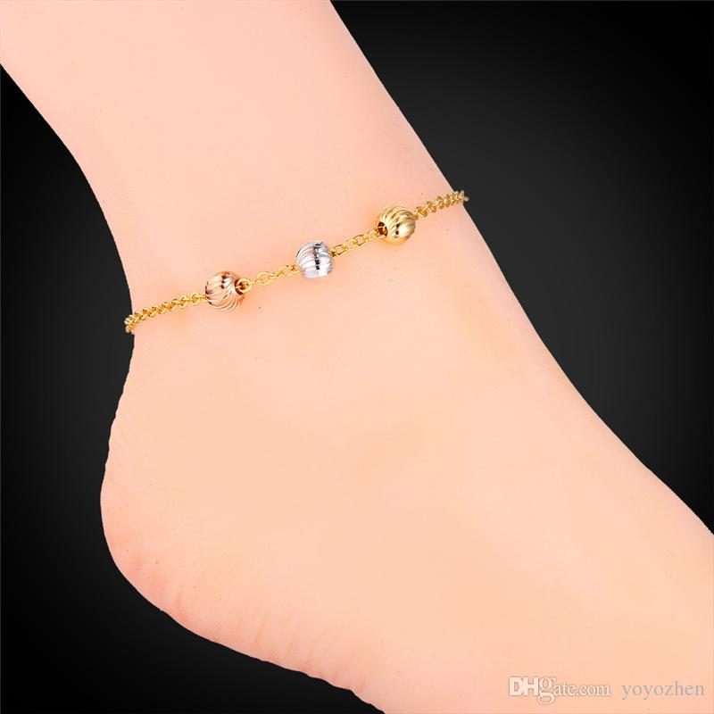 leg ankle filled beads brass plated dangling bling gold bead bracelet az anklet sgs jewelry