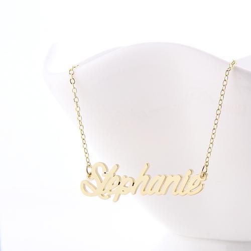 Personalizado personalizado 18 K chapado en oro de acero inoxidable nombre de la secuencia de comandos collar
