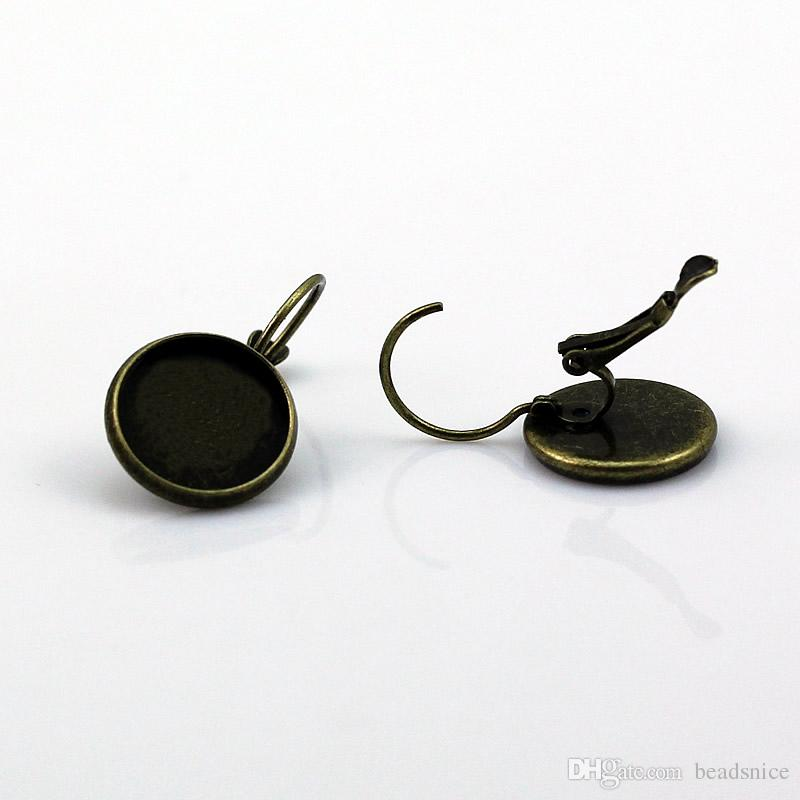 Beadsnice серьги низкопробные латунные серьги leverback с 16 мм круглый кабошон установка латунь palted серьги заготовки Оптовая ID 5907
