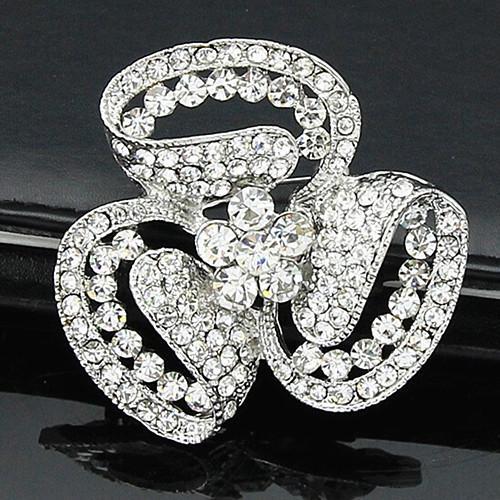 Venta caliente Sparklinig Diamante Flor Broche Moda Mujer Boda nupcial Ramo Broche Pins Vintage Silver Tone Barato Buena calidad