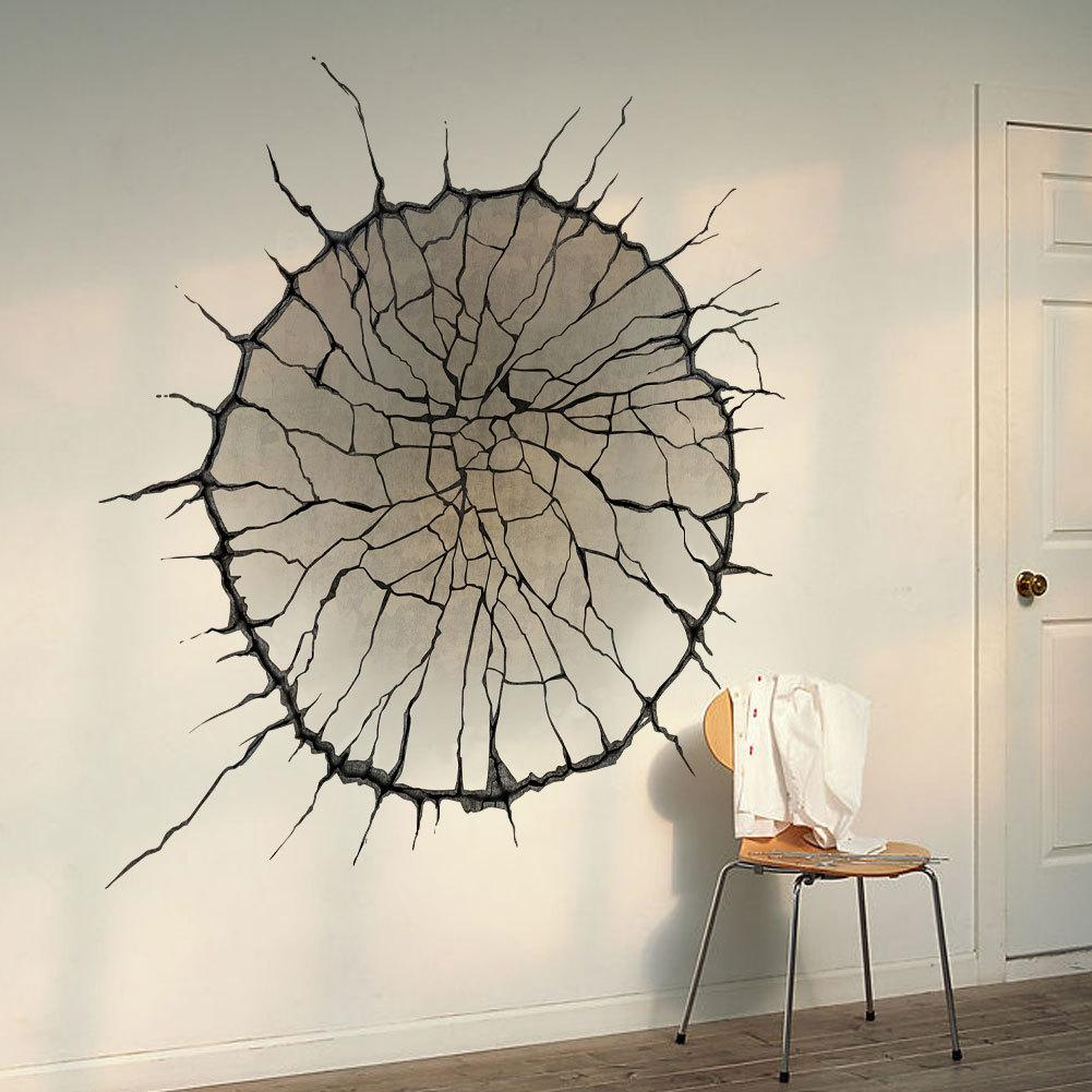 Stickers For Wall Decor 3d cracked wall art mural decor spider web wallpaper decal poster