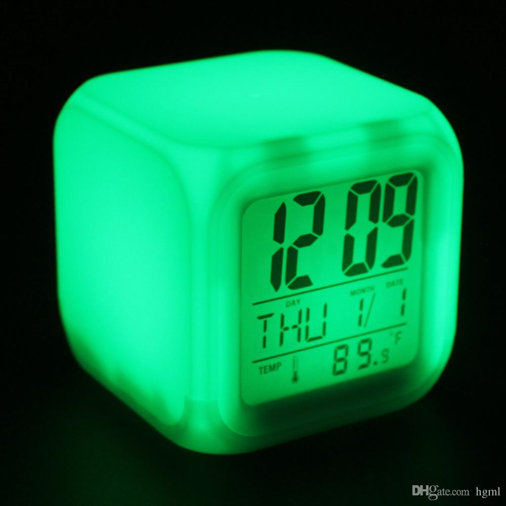 online cheap cube glowing led colors changing digital alarm clocks  - online cheap cube glowing led colors changing digital alarm clocks displaytime  date week  temperature wcs by hgml  dhgatecom
