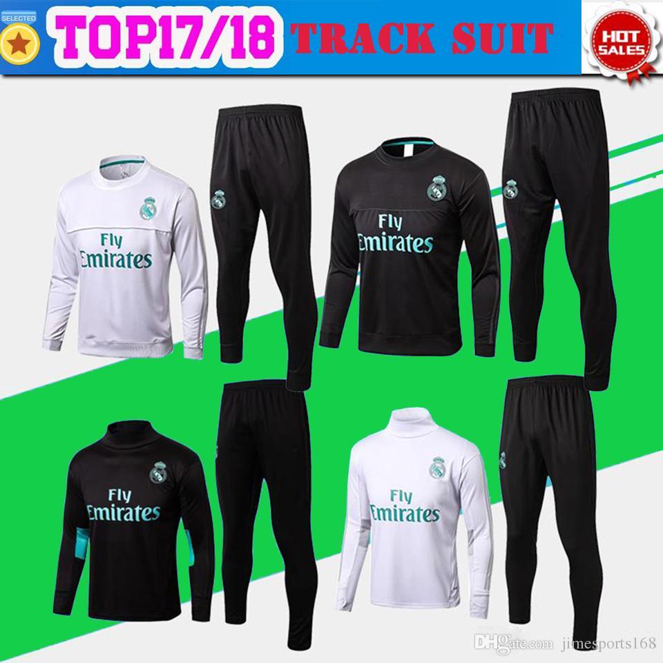 3f6a49daa 2019 Real Madrid Away Black Training Suit Kit Long Sleeve 201718