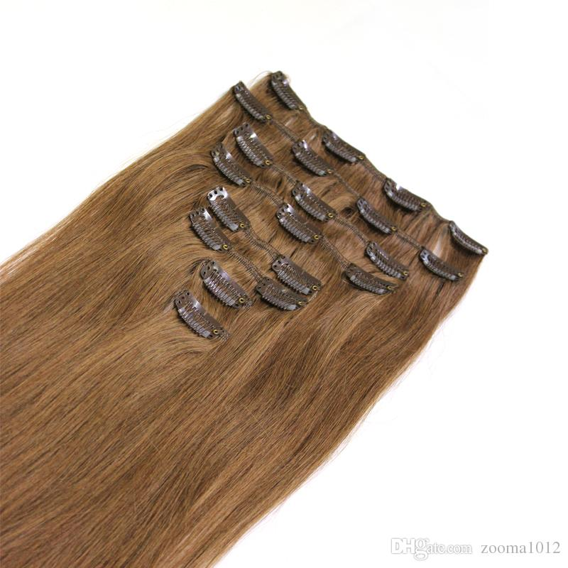 120gclip in human hair extensions Brazilian straight #1 #1B black #2 #4 #6 #8 brown #27 #60 #613 blonde