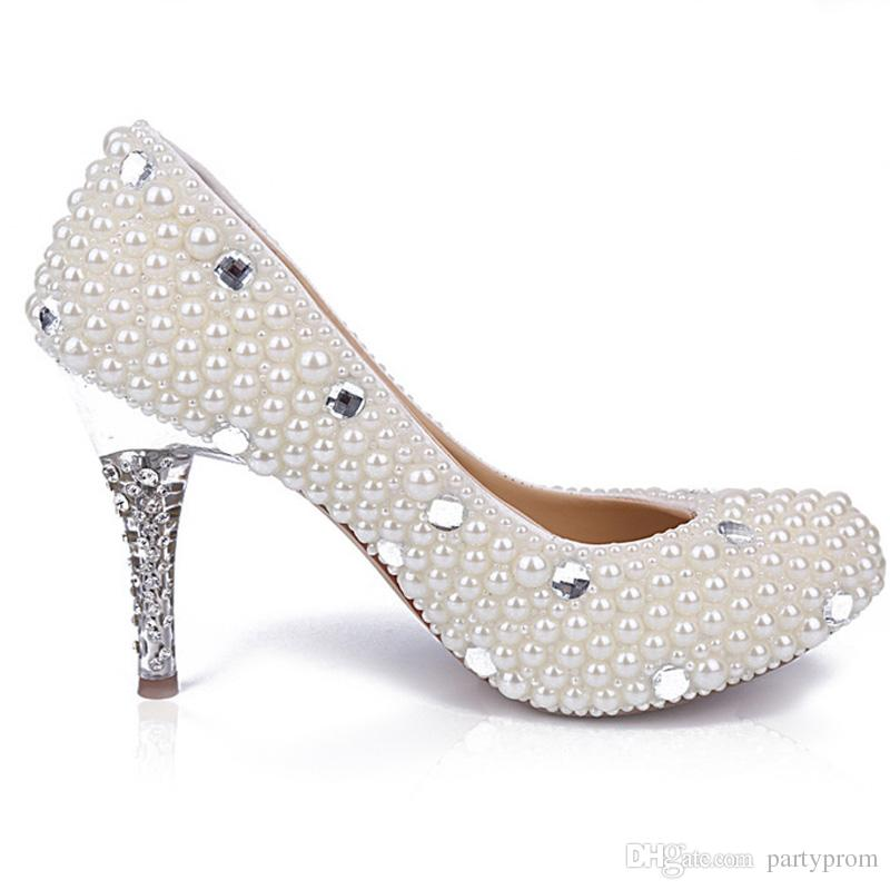 3 Дюйма Один Обувь Белый Жемчуг Обувь Невесты Свадьба Свадебные Высокая Пятки Обувь Stilettlo Каблук Свадебное Вечеринки Насосы
