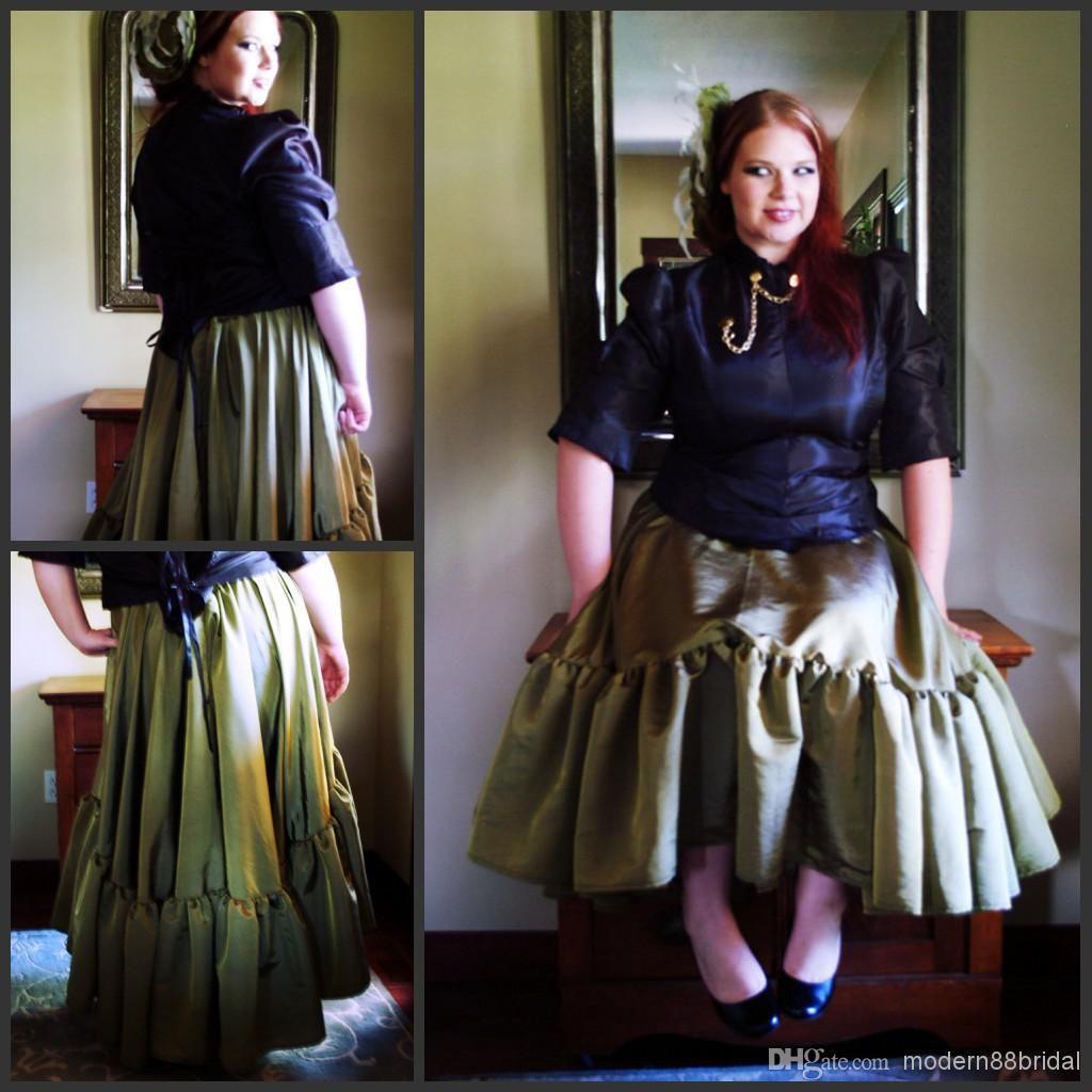 2015 Vintage Plus Size Steampunk Skirt Olive Green Asymetrical Hem