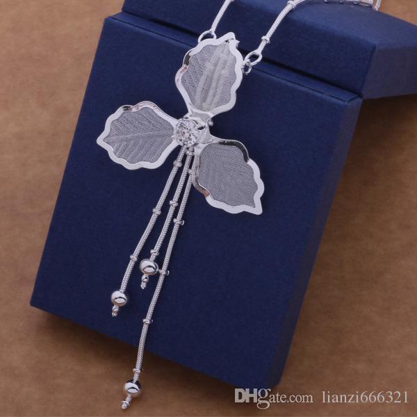 Frete Grátis com número de rastreamento Melhor Venda Quente das Mulheres Presente Delicado Jóias 925 Prata 3 folha flor borlas Colar