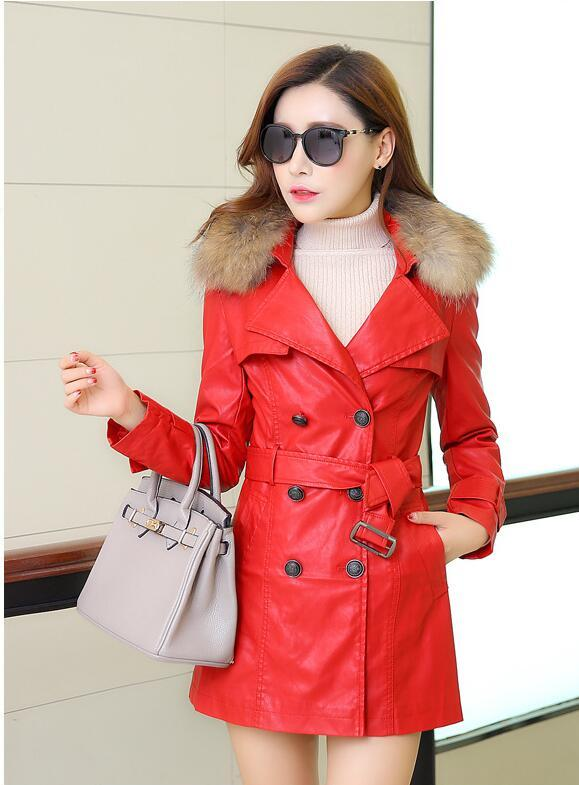 288209c95 Wool trench coat women fashion PU leather long jackets for women winter  2016 faux fur jacket plus winter coats