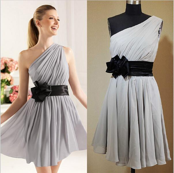 Fashion silver bridesmaid dresses with black sash belt for Silver and red wedding dresses