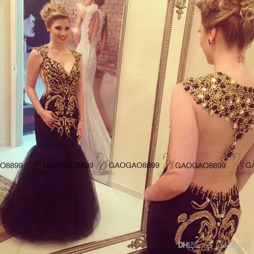 2016 New Hot Black Long Mermaid Dresses Party Evening Wear Luxury Sparkly Crystal Beaded Detail V-neck Arabic Prom Pageant Formal Dresses