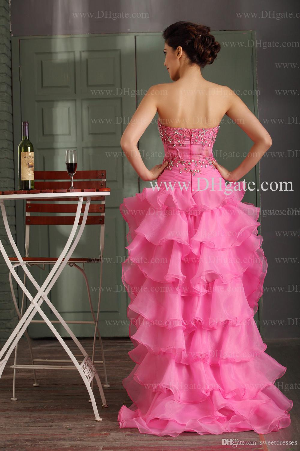 2015 Prom Dresses Crystals Appliqued Strapless Fashion Prom Gowns Hi ...