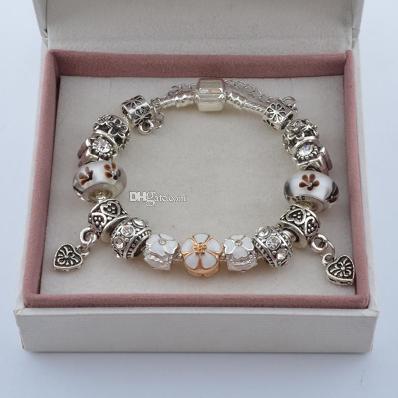 Date bracelets de charme avec fleur perles de verre de Murano coeur Dangles mode serpent chaîne bracelet bracelets pour les femmes BL107