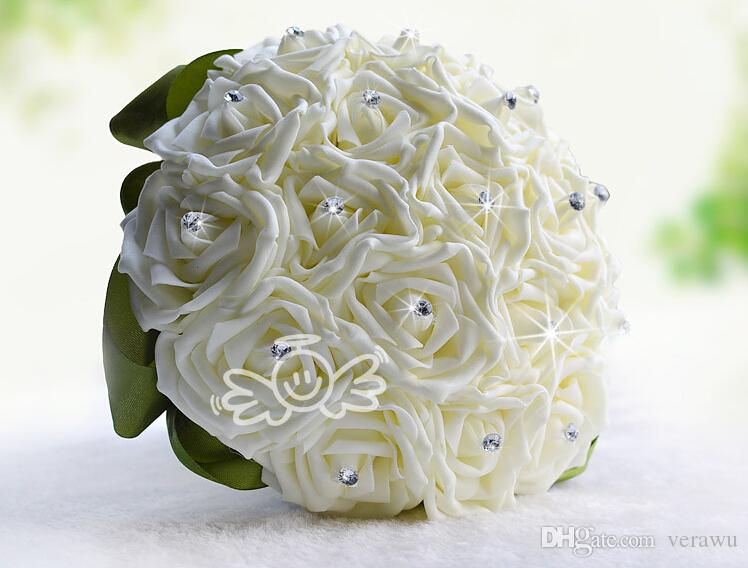 Hot Sale Cheap Shiny Rhinestone Wedding Bouquets Ivory 18 Artificial Rose Flowers For Bride Romantic Wedding Gifts Valentine's Day Gifts