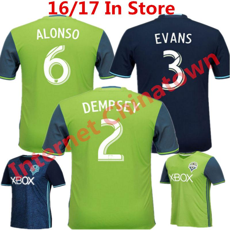 newest collection 85747 a0135 2016 Soccer Jersey Seattle Sounders camisetas de futbol 2017 Clint Dempsey  Martins Pappa Alons Evans Home Green Uniform FC Shirt Top Quality