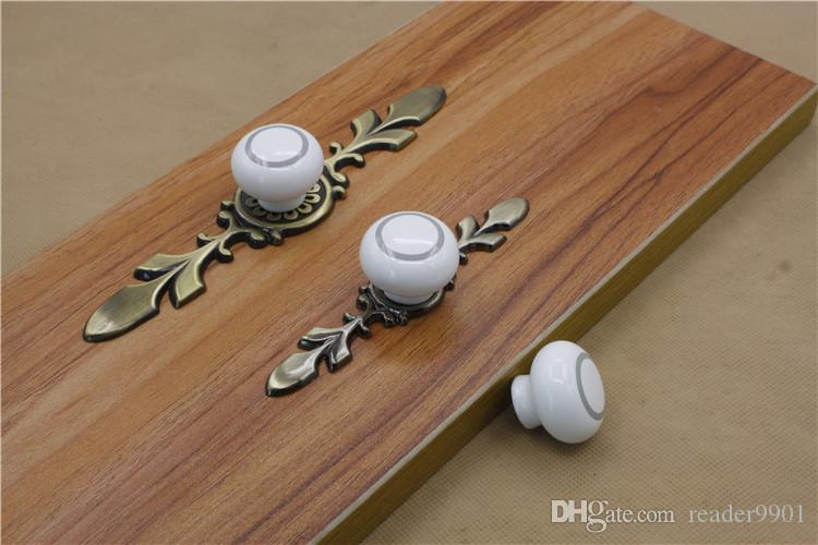 2016 new marble white ceramic single door knob/pull with Red bronze and bronze base cabinet kitchen drawer pull furniture handles #244