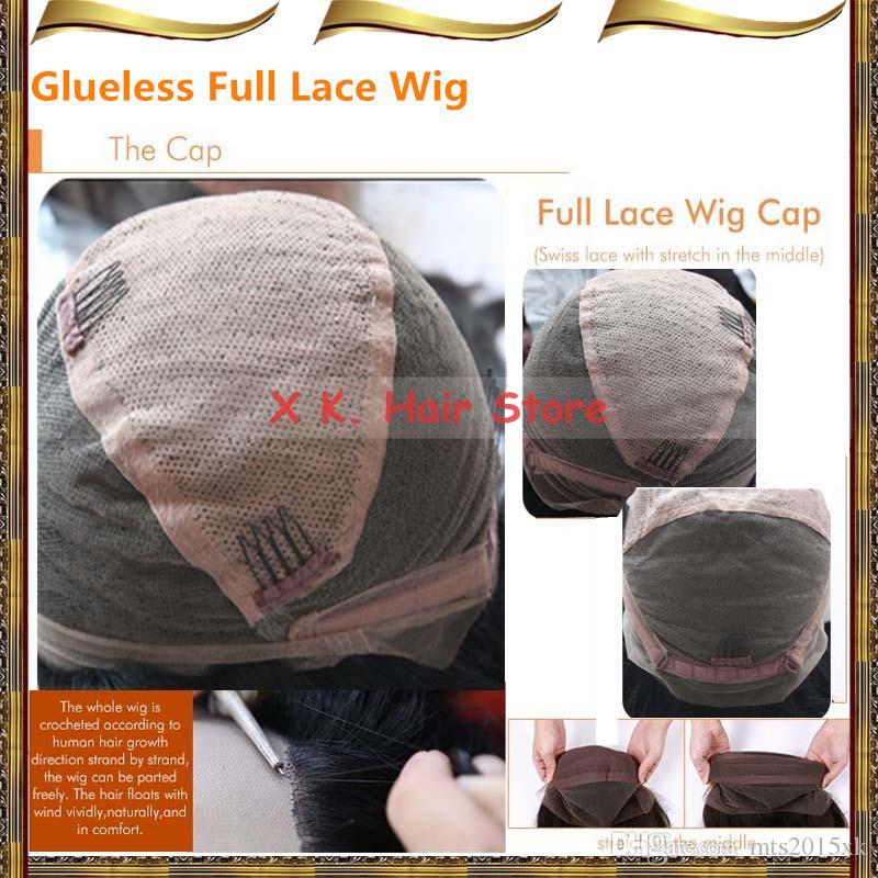 Vague bouclée cheveux humains avant de lacet perruques noeuds blanchis vague profonde pleine dentelle perruque pré pincée bouchon sans colle