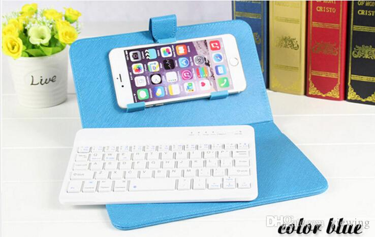 Universal Mobile phone keyboard Cover Bluetooth Keyboard Leather Case for iPhone 6 plus 7 iPhone X samsung S6 S8 S8 Plus with stand Holder