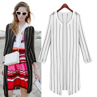Slim Vertical Stripes Woman Long Sweater Knitwear Cardigan Round ...