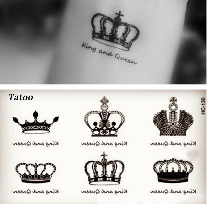 Lady Fashion Sexy Temporary Tattoo Star Letters Crown Diamond Tattoo