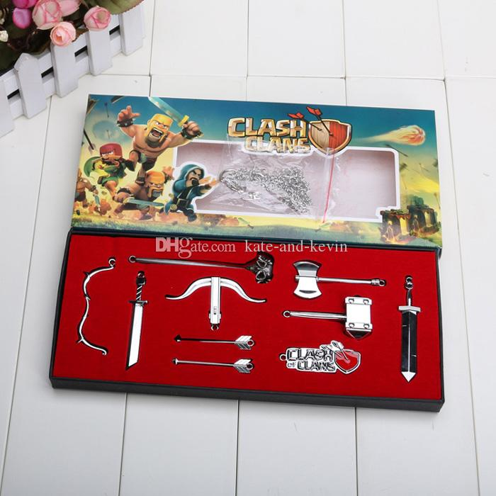 2017 7cm With Retail Box Clash Of Clans Weapons Swords Keychain ...
