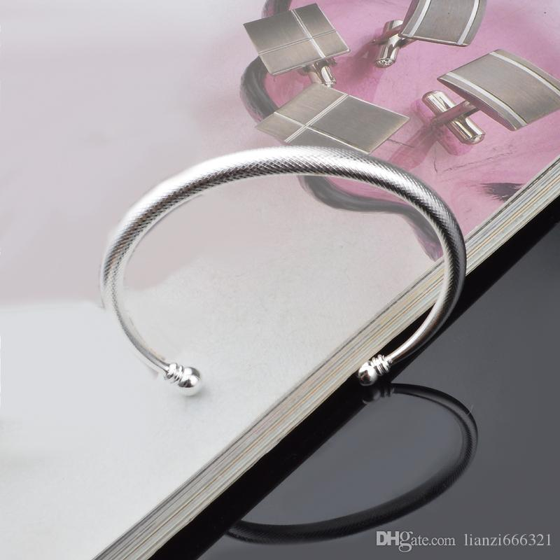 Hot Gift Factory Price 925 Silver Charm Bangle Fine Noble mesh bracelet fashion jewelry 2 beads with Bands 1318