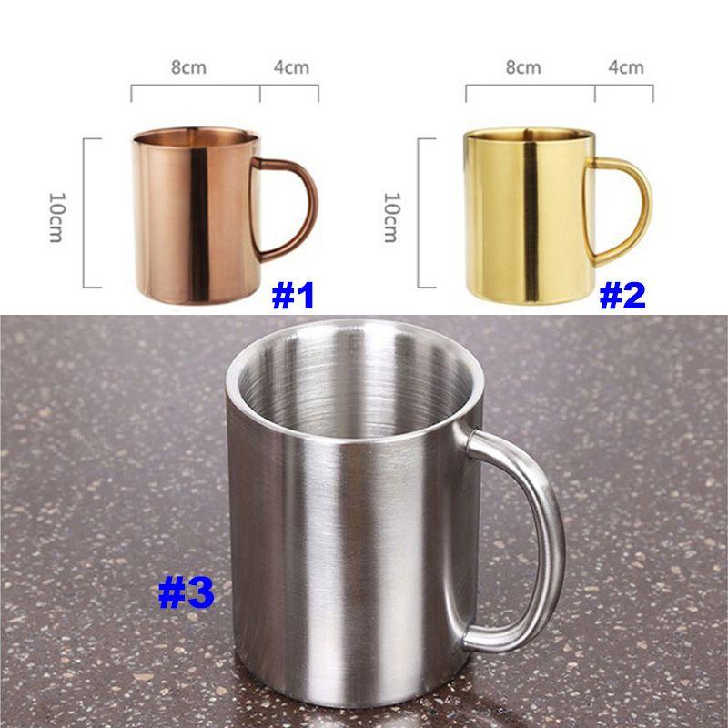 Las más nuevas tazas de café de acero inoxidable cobre plateado tazas de cóctel bar de cerveza vaso de agua copa de vino copa de vino wx9-118