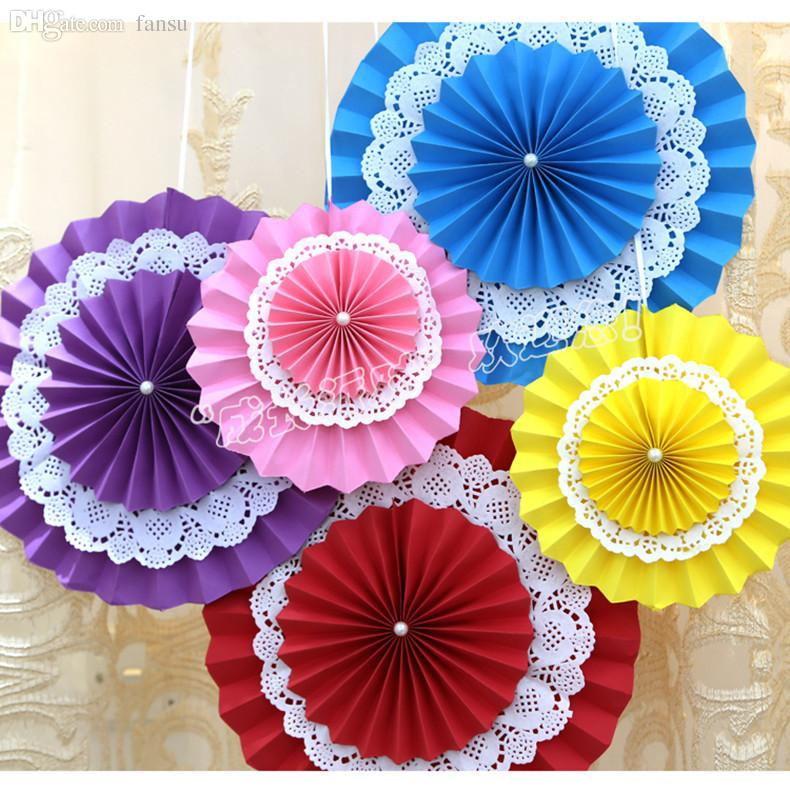 2018 Wholesale 20cm Paper Fan Flowers Fan Design Cute Crafts Idea