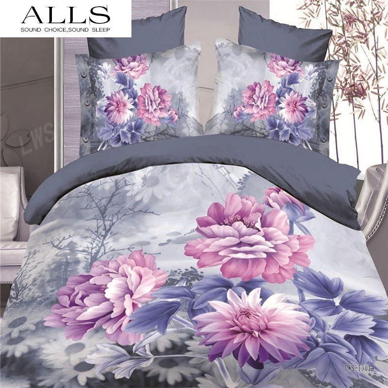 Großhandel 3d Bettwäsche / Lila Weiße Blume Zeichnung / Baumwolle ...
