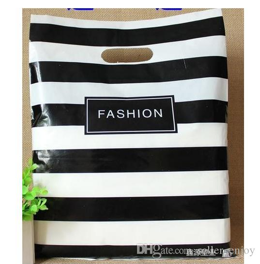 Fashion 25X35cm Black Strips Clothes Plastic Bags Jewelry Gift Bag Shopping Bags Retail