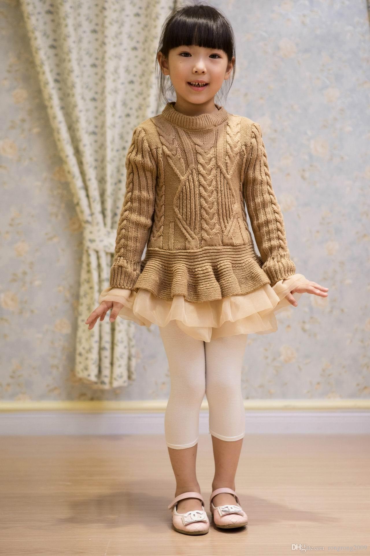 Весна осень новая девушка свитера вязание хлопок органзы нижней дети свитера 2-7Y C29