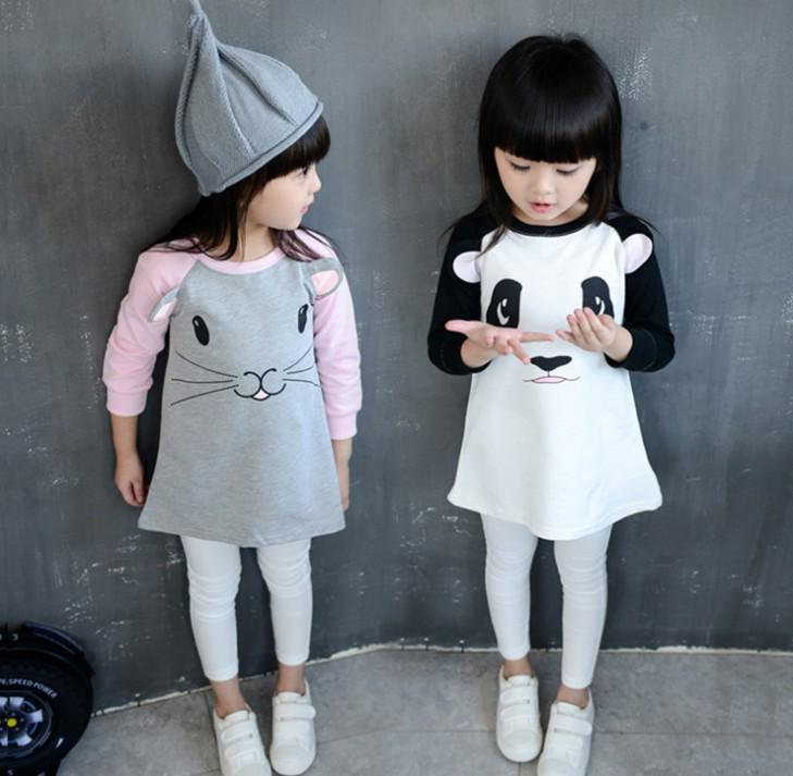2016 Spring Girls Dress Manica lunga Cartoon Panda Mouse 3D Orecchie Dress Girl Baby Clothes Dress Tops K6710