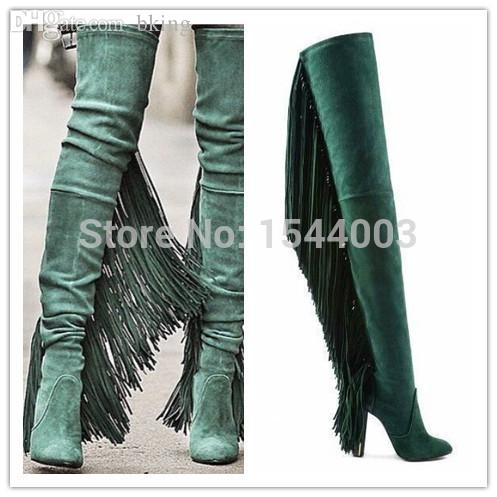 wholesale suede high heel long boots fringe over the knee boots