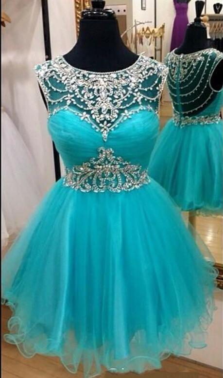 2016 New Aque Cocktail Dresses Illusion Neck Cap Sleeves Crystal Beading Short Mini Tulle Homecoming Dress Cheap Party Dress Prom Gowns