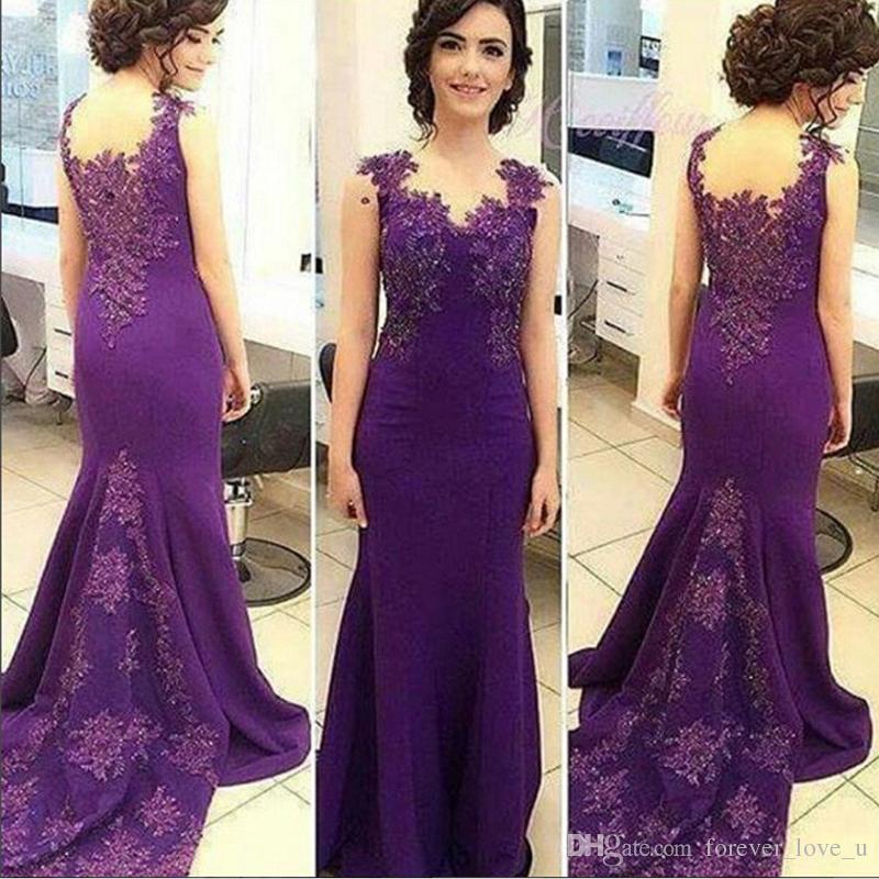 Compre Vestidos De Noche Árabes Sirena Vestido De Noche Púrpura ...