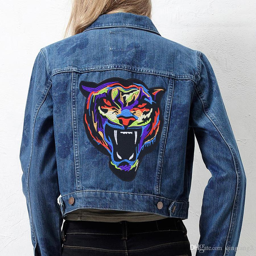 Multicolor Tiger Embroidery Patches for Clothing Bags DIY Iron on Transfer Applique Patch for Garment Jackets Sew on Embroidery Badge